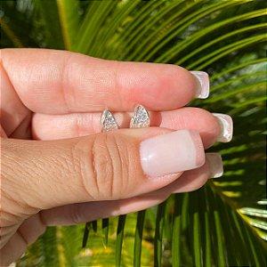Brinco Prata Argola Pequena Triangular Com Zircônia Micro Cravejada
