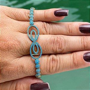 Pulseira Folheada Ouro 18K Infinito Pedra Azul Regulavel