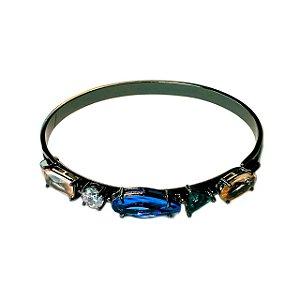 Bracelete Folheado Rodio Negro Aro Com Pedras