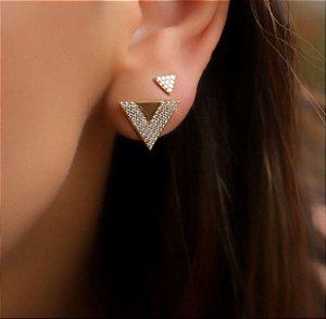 Brinco Folheado Ouro 18K Triângulo