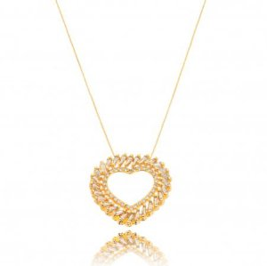 Colar banhado ouro 18k coração cristal