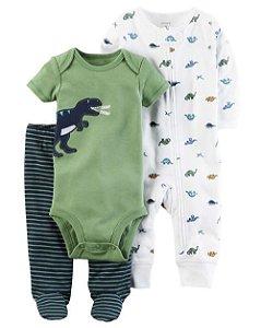 Conjunto Carter's Dinossauro - Body Manga Curta, Calça e Macacão