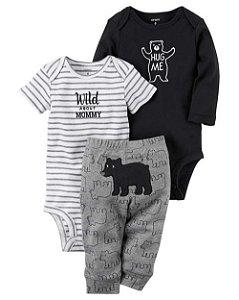 Conjunto Carter's Abraço de Urso - Body Manga Curta, Longa e Calça