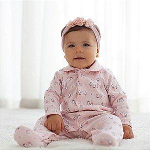 Macacão para Bebês em Algodão Egípcio - Pinguim Rosa
