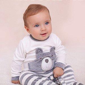 Macacão Plush para Bebês - Ursinho Marfim