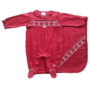 Saída de Maternidade Menina - Anjos Baby - Vermelho - 2 peças