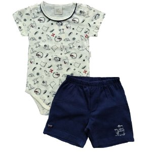 Conjunto Bebe Body e Shorts – Pirata