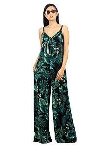 Macacão Estampado Longo Pantalona Verde