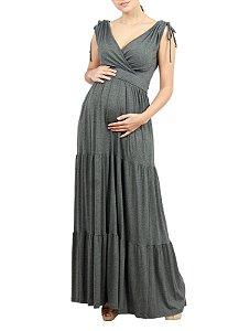 Vestido Longo Gestante Transpassado Cinza