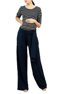 Calça Gestante Pantalona Em Malha Marinho