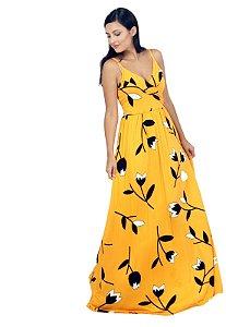 Vestido Longo Estampado Transpassado Amarelo