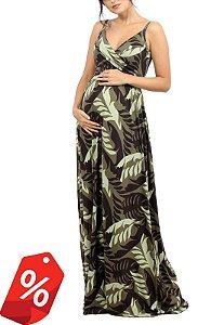Vestido Gestante Estampado Transpassado Verde
