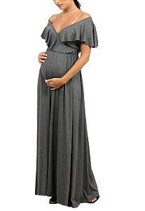 Vestido Longo Gestante Amamentação Cinza