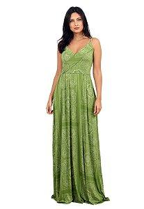 Vestido Longo Estampado Transpassado Verde