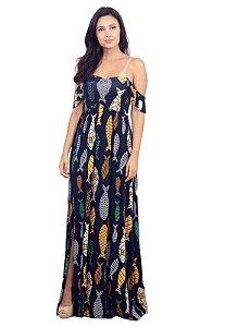 Vestido Longo Estampado Com Fenda Azul