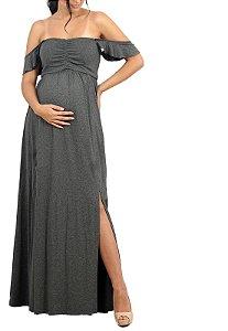 Vestido Longo Gestante Com Fenda Cinza