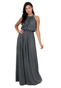 Vestido Longo Cinza Gola Elegante