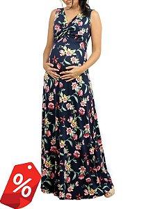 Vestido Gestante Estampado Longo Floral