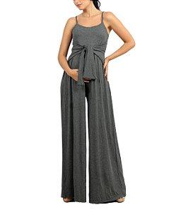 Macacão Gestante Pantalona Alça Cinza