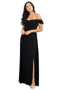 Vestido Longo Com Fenda Preto