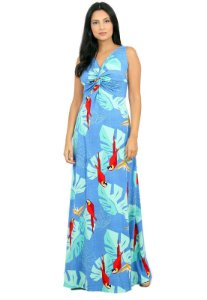 Vestido Longo Estampado Tropical