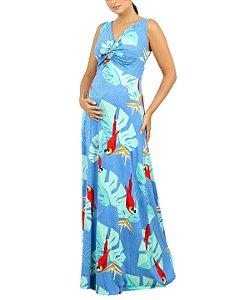 Vestido Gestante Estampado Longo Tropical