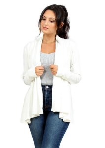 Cardigan Feminino Canelado Off-White