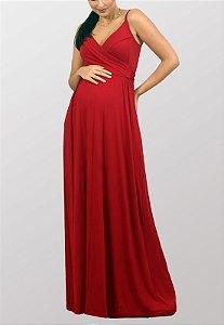 Vestido Longo Gestante Amamentação Alcinhas Vermelho