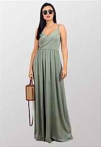 Vestido Longo Transpassado Alcinhas Verde