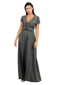 Vestido Longo Transpassado Cinza