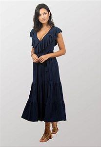 Vestido Midi Rodado Marinho Claudia