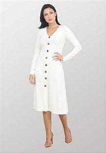 Vestido Midi Canelado Hera Off-White