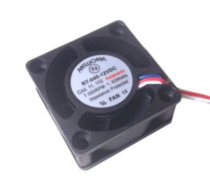 Cooler Nework 12V RT-040 11.110 40X40X20mm ROLAMENTO	Amp.: 0,16 RPM: 7000 3 FIOS S/ CONECTOR - 402012R