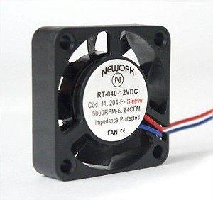 Cooler Nework 12V RT-040 11.204E 40X40X10mm BUCHA Amp.: 0,04 RPM: 5000 2 FIOS C/ CONECTOR
