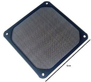 Grade de metal 120mm com tela de malha fina. Preta  MOD GRM120AL01BK
