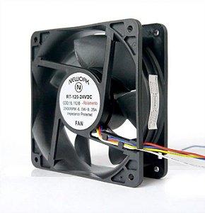 Cooler Nework 24v Rt-120 120x120x38mm Rolamento 2900rpm 16112R 4 Fios S/ Conector - 1203824R