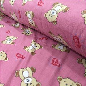 Soft Estampado Ursinhos Fundo Rosa