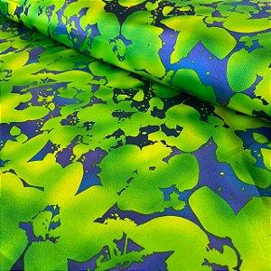 Cetim Estampado Verde na Água