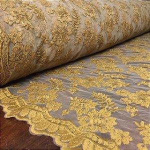 Tule Bordado Barrado Dourado