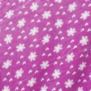 Fleece Estampada Florzinha Fundo Rosa