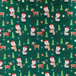 Tricoline Estampada Papai Noel Verde