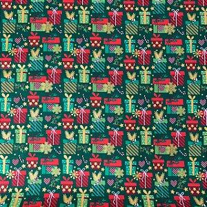Tricoline Estampada Presentes Verde