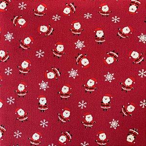 Tricoline Estampada Papai Noel Vermelho