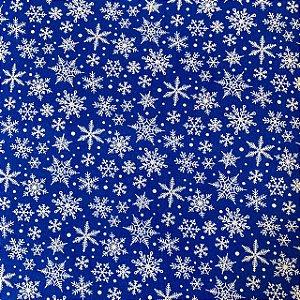 Tricoline Estampada Floco de Neve Royal