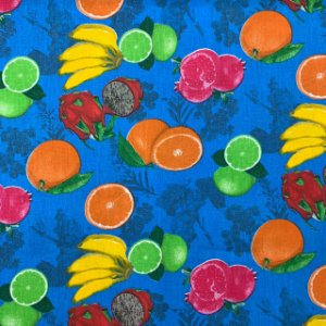 Tricoline Estampada Frutas Azul