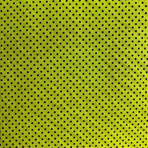 Tricoline Estampada Poá Miúdo Amarelo e Preto