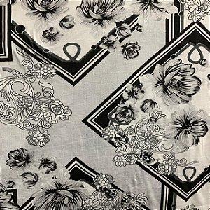 Malha de Algodão Estampada Floral Geometria