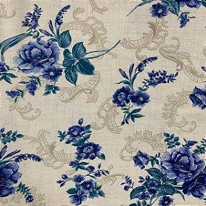 Malha de Algodão Estampada Floral Ornamentado