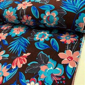 Malha Liganete Estampada Floral Azul e Preto