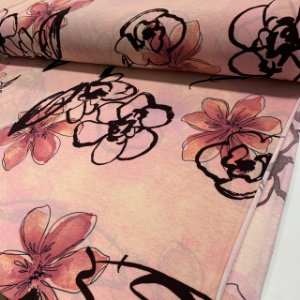 Malha Liganete Estampada Floral Rosa Nuvem